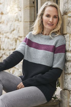 womens 6 ply yak striped jumper
