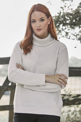 Cashmere Honeycomb Roll Collar in Cream