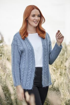 Mohair Cable Cardigan in Blue