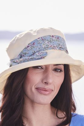 Cotton Hat With Floral Sash
