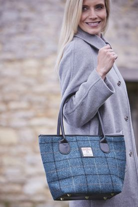 Harris Tweed Tote Bag in blue