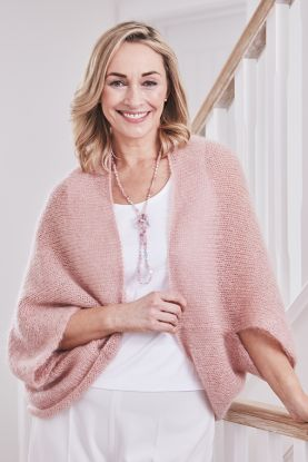 Women's mohair shrug in Pink