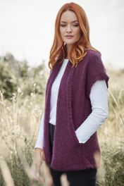 Mohair Pocket Gilet in Red