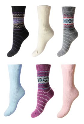 Ladies Patterned Cashmere Socks