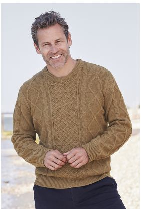 Gents Camel Aran Sweater