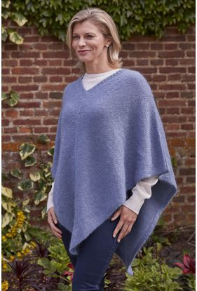 Mohair Poncho in Atlantic Blue