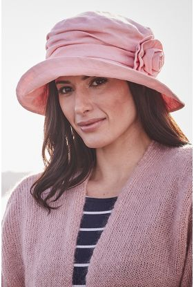 Linen Hat With Flower